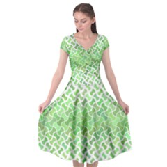 Green Pattern Curved Puzzle Cap Sleeve Wrap Front Dress by Jojostore