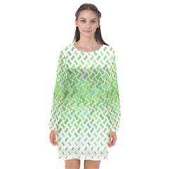 Green Pattern Curved Puzzle Long Sleeve Chiffon Shift Dress