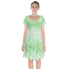 Green Pattern Curved Puzzle Short Sleeve Bardot Dress