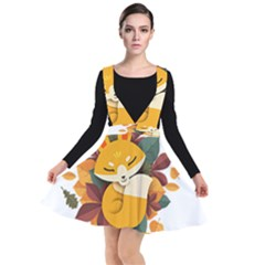 Fox Leaves Plunge Pinafore Dress by Jojostore