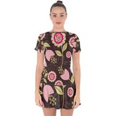 Flower Wallpaper Floral Drop Hem Mini Chiffon Dress