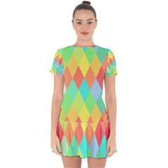 Low Poly Triangles Drop Hem Mini Chiffon Dress