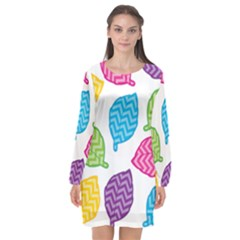 Leaf Chevron Long Sleeve Chiffon Shift Dress  by Jojostore