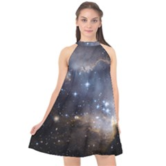 Cosmic Constellation Halter Neckline Chiffon Dress  by WensdaiAddamns