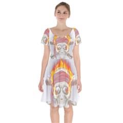 Fire Red Skull Short Sleeve Bardot Dress