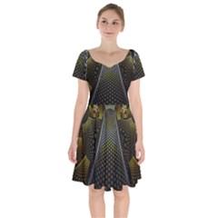 Fractal Hexagon Geometry Hexagonal Short Sleeve Bardot Dress by Mariart