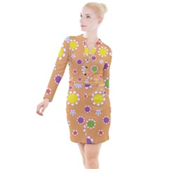 Floral Flowers Retro Button Long Sleeve Dress