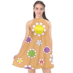 Floral Flowers Retro Halter Neckline Chiffon Dress  by Mariart