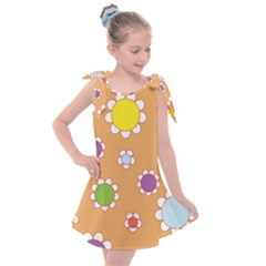 Floral Flowers Retro Kids  Tie Up Tunic Dress by Mariart