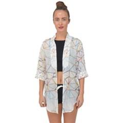 Geometric Pattern Abstract Shape Open Front Chiffon Kimono