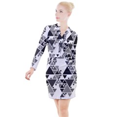 Gray Triangle Puzzle Button Long Sleeve Dress