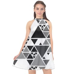 Gray Triangle Puzzle Halter Neckline Chiffon Dress  by Mariart