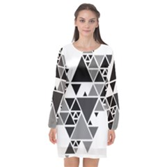 Gray Triangle Puzzle Long Sleeve Chiffon Shift Dress  by Mariart