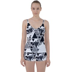 Gray Triangle Puzzle Tie Front Two Piece Tankini by Mariart