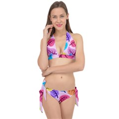 Leaves Background Beautiful Tie It Up Bikini Set