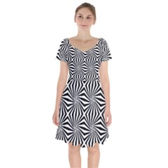 Line Stripe Pattern Short Sleeve Bardot Dress