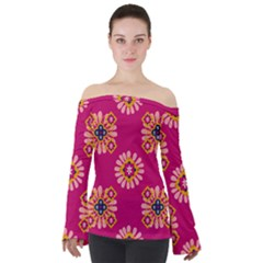 Morroco Tile Traditional Off Shoulder Long Sleeve Top by Mariart