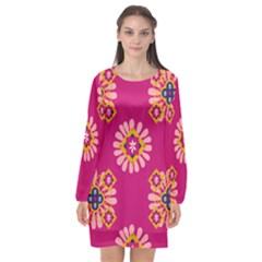 Morroco Tile Traditional Long Sleeve Chiffon Shift Dress