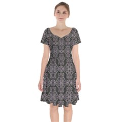 Line Geometry Short Sleeve Bardot Dress by Mariart