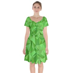 Mosaic Tile Geometrical Abstract Short Sleeve Bardot Dress by Mariart