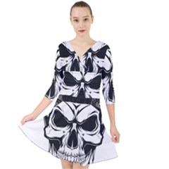 Kerchief Human Skull Quarter Sleeve Front Wrap Dress