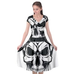 Kerchief Human Skull Cap Sleeve Wrap Front Dress