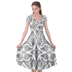 Mandala Line Art Cap Sleeve Wrap Front Dress by Mariart