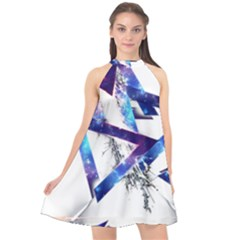 Metal Triangle Halter Neckline Chiffon Dress  by Mariart