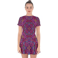 Kaleidoscope Triangle Pattern Drop Hem Mini Chiffon Dress