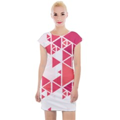 Red Triangle Pattern Cap Sleeve Bodycon Dress