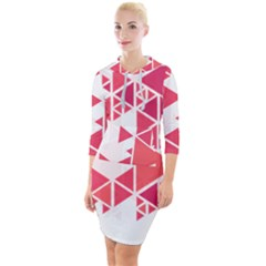 Red Triangle Pattern Quarter Sleeve Hood Bodycon Dress by Mariart