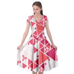 Red Triangle Pattern Cap Sleeve Wrap Front Dress