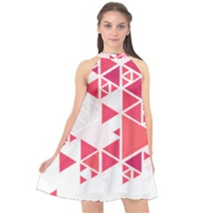 Red Triangle Pattern Halter Neckline Chiffon Dress