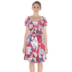 Technology Triangle Short Sleeve Bardot Dress by Mariart