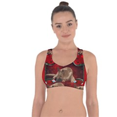 Wonderful German Shepherd With Heart And Flowers Cross String Back Sports Bra by FantasyWorld7