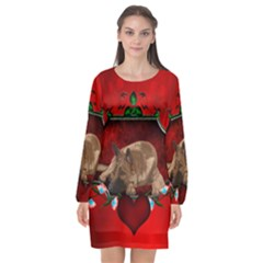 Wonderful German Shepherd With Heart And Flowers Long Sleeve Chiffon Shift Dress  by FantasyWorld7