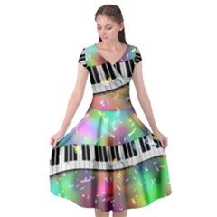Piano Keys Music Colorful Cap Sleeve Wrap Front Dress by Mariart