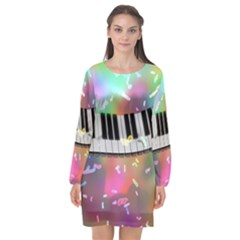 Piano Keys Music Colorful Long Sleeve Chiffon Shift Dress  by Mariart