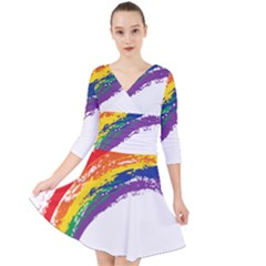 Watercolor Painting Rainbow Quarter Sleeve Front Wrap Dress by Mariart