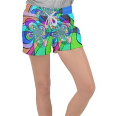 Retro Wave Background Pattern Women s Velour Lounge Shorts by Mariart