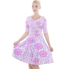Peony Spring Flowers Quarter Sleeve A Line Dress