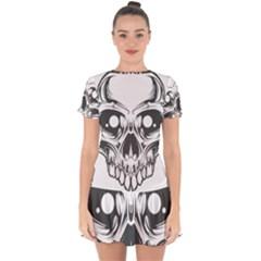 Illustration Skull Drop Hem Mini Chiffon Dress