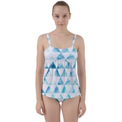 Hipster Triangle Pattern Twist Front Tankini Set by AnjaniArt