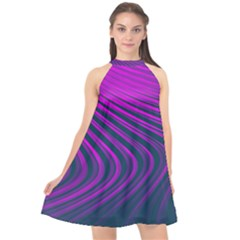 Line Geometric Blue Pink Halter Neckline Chiffon Dress  by AnjaniArt