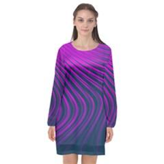 Line Geometric Blue Pink Long Sleeve Chiffon Shift Dress