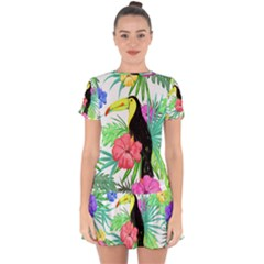 Leaves Tropical Nature Green Plan Drop Hem Mini Chiffon Dress