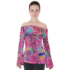 Illustration Reason Leaves Off Shoulder Long Sleeve Top by AnjaniArt