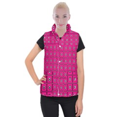 Pink Pattern Squares Women s Button Up Vest