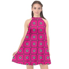 Pink Pattern Squares Halter Neckline Chiffon Dress  by AnjaniArt