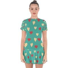 Love Heart Valentine Drop Hem Mini Chiffon Dress by AnjaniArt